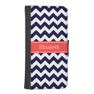 Navy Blue White Chevron Coral Red Name Monogram iPhone 5 Wallet Cases
