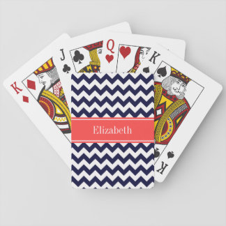 Navy Blue White Chevron Coral Red Name Monogram Poker Cards
