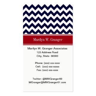 Navy Blue White Chevron Cranberry Name Monogram Business Card Template