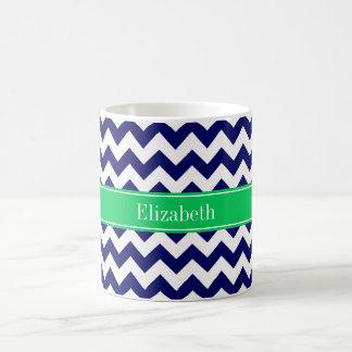 Navy Blue White Chevron Emerald Name Monogram Coffee Mug