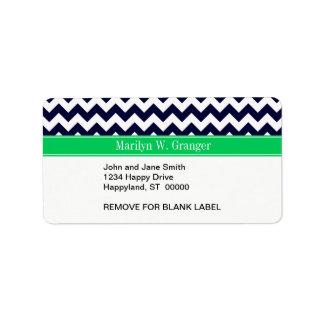 Navy Blue White Chevron Emerald Name Monogram Address Label