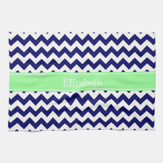 Navy Blue White Chevron Mint Green Name Monogram Towels