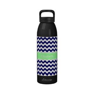 Navy Blue White Chevron Mint Green Name Monogram Water Bottle