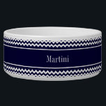 """Navy Blue White Chevron Navy Name Monogram Bowl<br><div class=""""desc"""">Navy Blue and White Chevron ZigZag Pattern, Navy Blue Ribbon Name Monogram Label Customize this with your name, monogram or other text. You can also change fonts, adjust font sizes and font colors, move the text, add text fields, etc. Please note that this is a digitally created graphic design that&#39;s...</div>"""