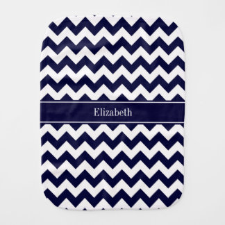 Navy Blue White Chevron Navy Name Monogram Burp Cloth