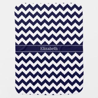 Navy Blue White Chevron Navy Name Monogram Swaddle Blanket