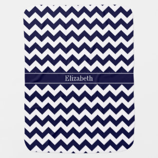 Navy Blue White Chevron Navy Name Monogram Baby Blankets