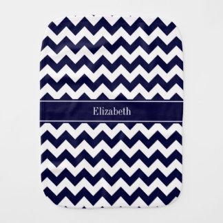 Navy Blue White Chevron Navy Name Monogram Burp Cloth
