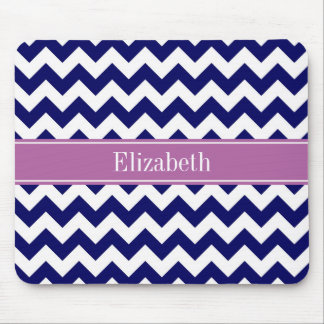 Navy Blue White Chevron Orchid Name Monogram Mouse Pad
