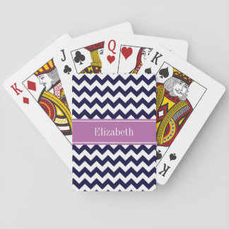 Navy Blue White Chevron Orchid Name Monogram Playing Cards