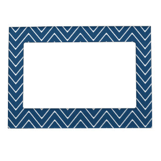 Navy Blue White Chevron Pattern 2A Magnetic Picture Frame