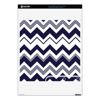 Navy Blue White Chevron Pattern Decal For PS3 Slim