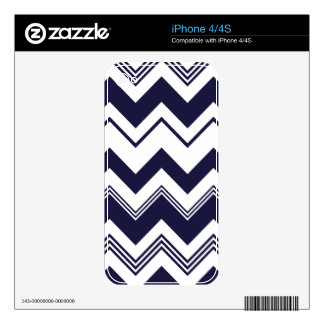 Navy Blue White Chevron Pattern Decal For The iPhone 4