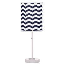 Navy Blue & White Chevron Pattern Desk Lamp