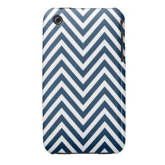 NAVY BLUE WHITE CHEVRON PATTERN Case-Mate iPhone 3 CASE