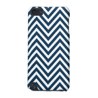 NAVY BLUE WHITE CHEVRON PATTERN iPod TOUCH 5G CASES