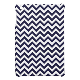 Navy Blue White Chevron Pattern iPad Mini Cases