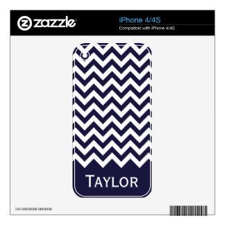 Navy Blue White Chevron Pattern iPhone 4 Decals