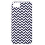Navy Blue White Chevron Pattern iPhone 5C Covers