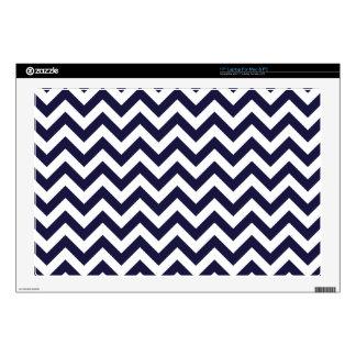 Navy Blue White Chevron Pattern Laptop Decals