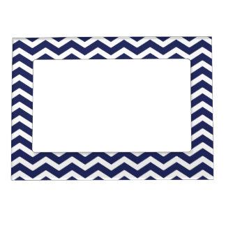 Navy Blue White Chevron Pattern Magnetic Photo Frame