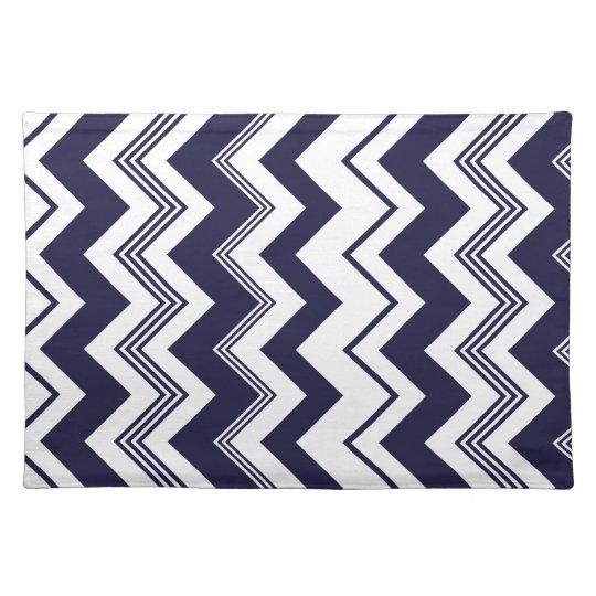 Navy Blue White Chevron Pattern Placemat