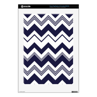 Navy Blue White Chevron Pattern PS3 Console Decals