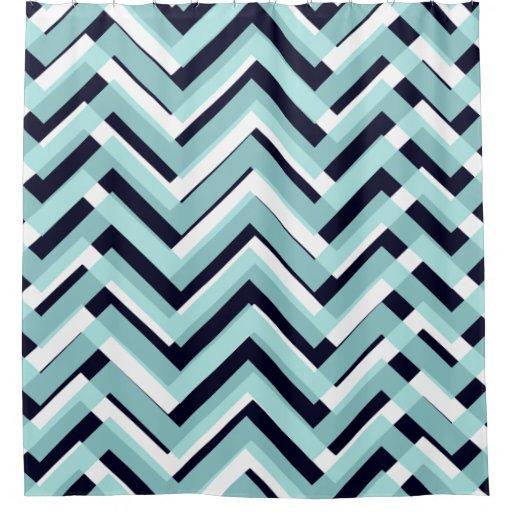 Navy Blue White Chevron Pattern Shower Curtain