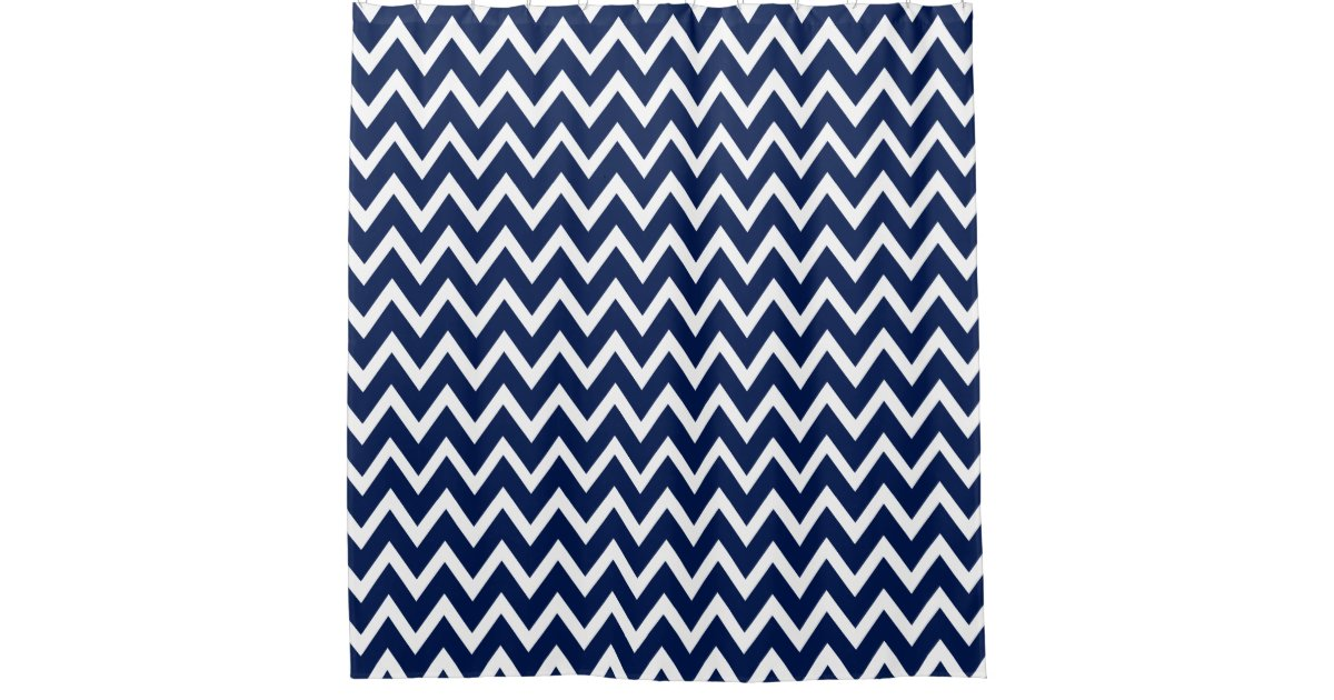 navy blue white chevron pattern shower curtain zazzle