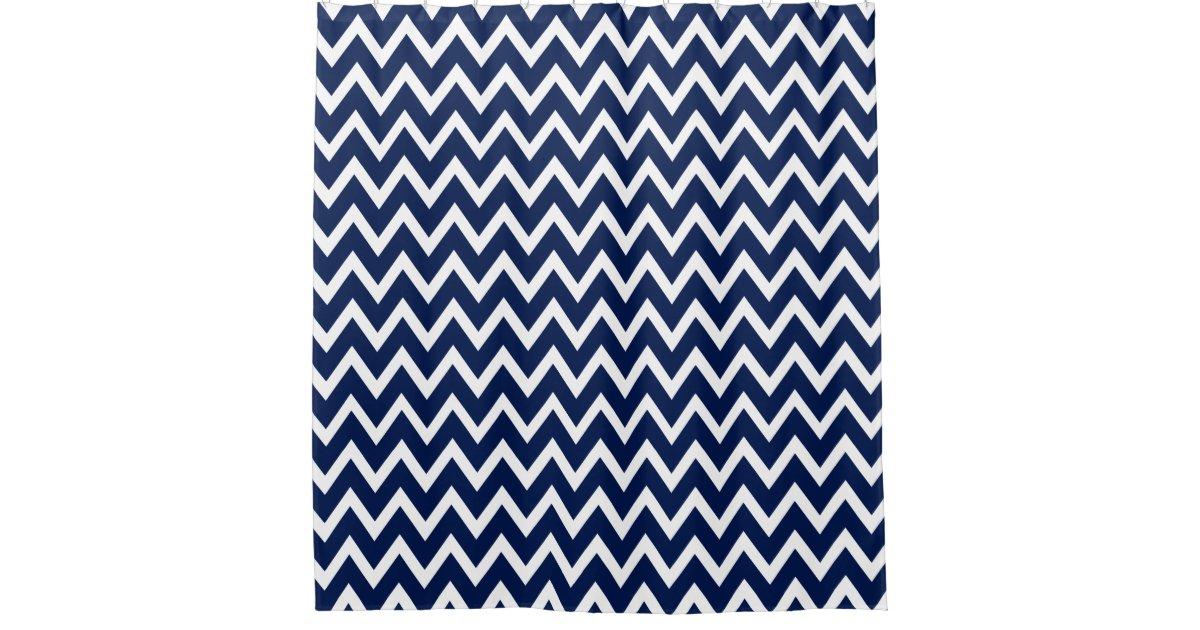 Navy Blue Amp White Chevron Pattern Shower Curtain