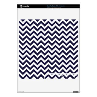 Navy Blue White Chevron Pattern Skin For PS3 Slim