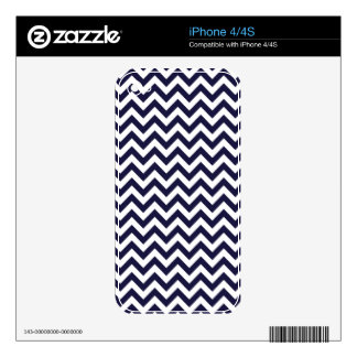 Navy Blue White Chevron Pattern Skins For The iPhone 4