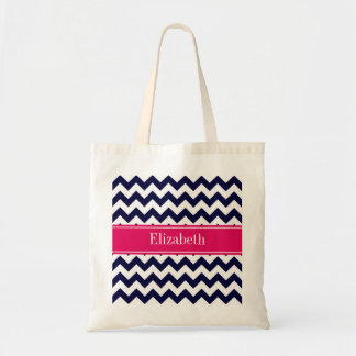 Navy Blue White Chevron Raspberry Name Monogram Bag