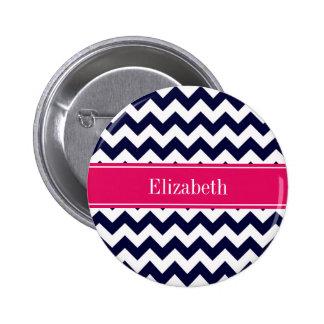 Navy Blue White Chevron Raspberry Name Monogram Button