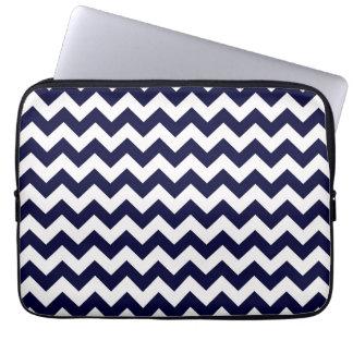 Navy Blue White Chevron Zig-Zag Pattern Laptop Computer Sleeve