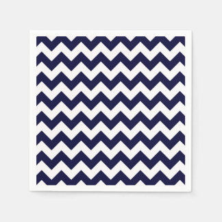 Navy Blue White Chevron Zig-Zag Pattern Napkin