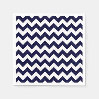 Navy Blue White Chevron Zig-Zag Pattern Paper Napkin