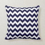 Navy Blue White Chevron Zig-Zag Pattern Pillow