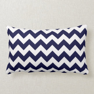 Navy Blue White Chevron Zig-Zag Pattern Throw Pillow