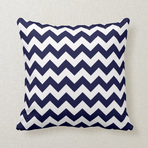 Navy Blue White Chevron Zig-Zag Pattern Throw Pillow Zazzle