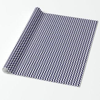 Navy Blue White Chevron Zig-Zag Pattern Wrapping Paper