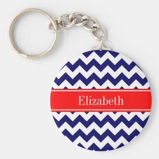 Navy Blue White Chevron Zig Zag Red Name Monogram Basic Round Button Keychain