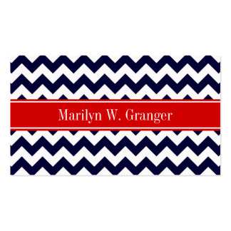 Navy Blue White Chevron Zig Zag Red Name Monogram Double-Sided Standard Business Cards (Pack Of 100)