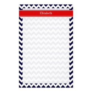 Navy Blue White Chevron Zig Zag Red Name Monogram Personalized Stationery