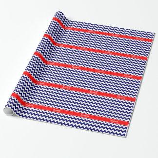 Navy Blue White Chevron Zig Zag Red Name Monogram Wrapping Paper
