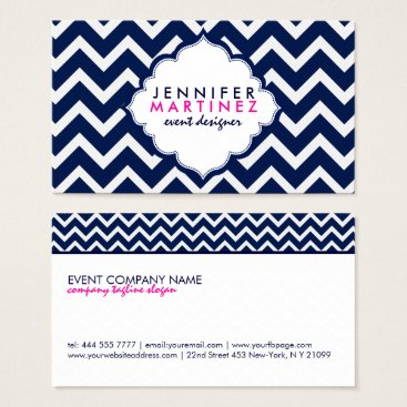 Professional Business Navy Blue & White Chevron Zigzag Pattern Business Card