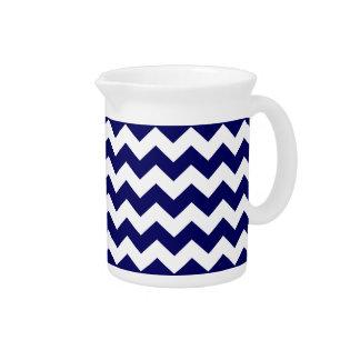 Navy Blue White Chevron Zigzag Stripe Pattern Beverage Pitchers