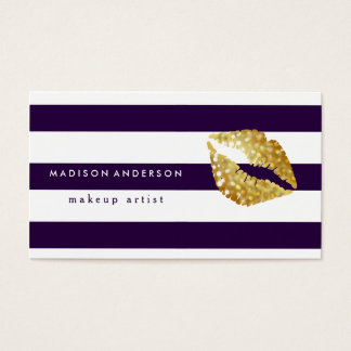 Navy Blue & White Chic Gold Lips - Makeup Artist Business Card