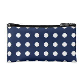 Navy Blue White Chic Polka Dot Small Cosmetic Bag