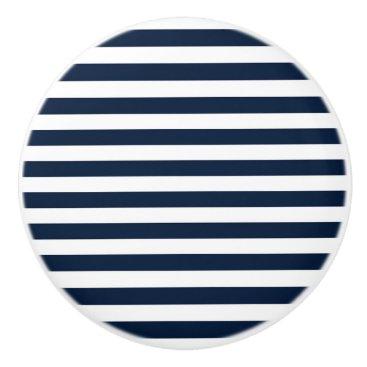 Beach Themed Navy Blue & White Chic Stripes Striped Dresser Ceramic Knob